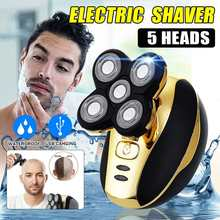 5 heads Electric Shaver Men Head Polish Hair Trimmer USB Rec