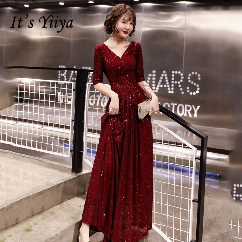 It's YiiYa Evening Dresses For Women V-Neck Half Sleeve Sequined Evening Dress 2020 Plus Size Burgundy Long Robe De Soiree K143