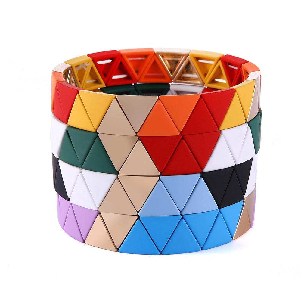 My Shape Tile Bracelet Elastic Cuff Bracelets Women Bangle Triangle Braided Stackable Enamel Jewelry Great Gift For Women(China)