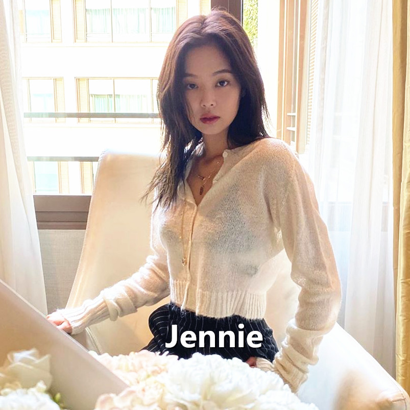 Kpop Blackpink JENNIE Same Knitted Cropped Cardigan Thin Sweater Women Korean Loose Air-conditioned Rooms White Short Coat Tops