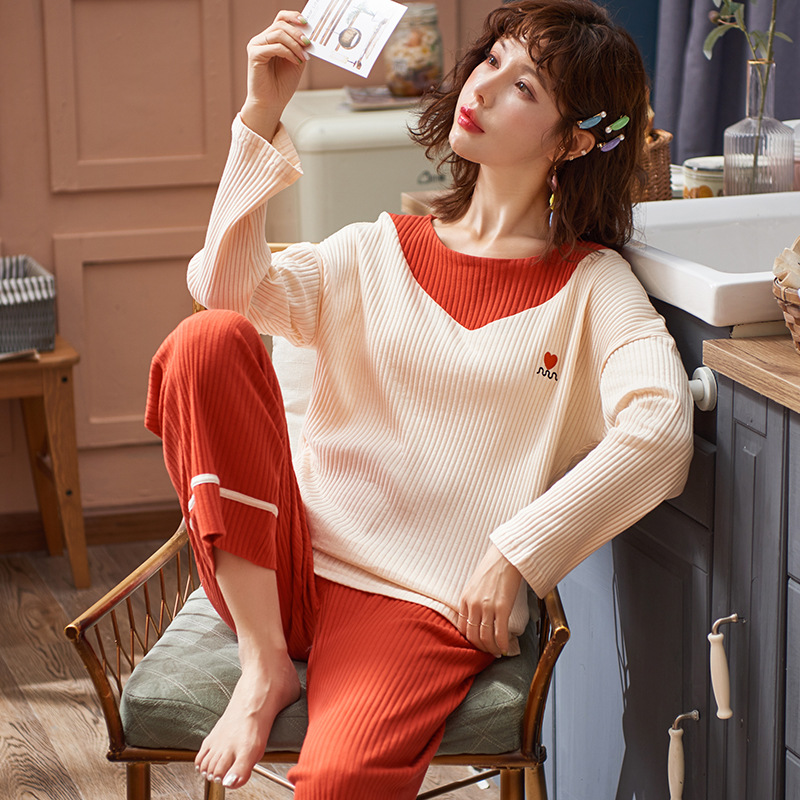Multi-Winter Color Women's Sleepwear Women's Autumn Cotton Long-Sleeve Ribbed Pattern Loose-Fit Cotton Sweet Cute WOMEN'S Tracks