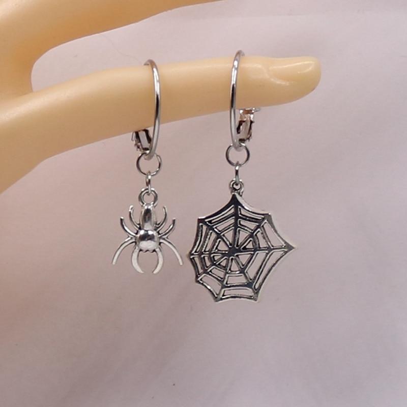 1 пара, милые корейские серьги в виде паука в стиле панк для Хэллоуина, ассиметричные серьги, модные женские серьги-кольца, подарки для влюбл...