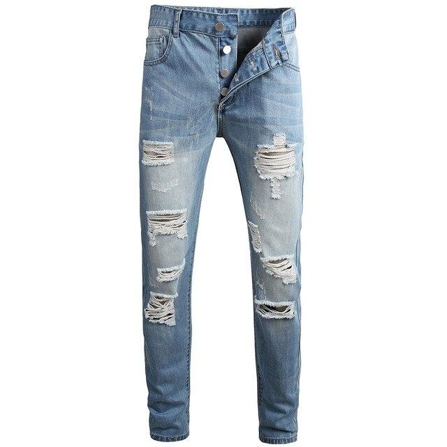 Men's Casual Jeans Men's Casual Denim Straight Jeans Multi-button Trousers Men's Ripped Fashion Jeans Jeans Para Hombre 1