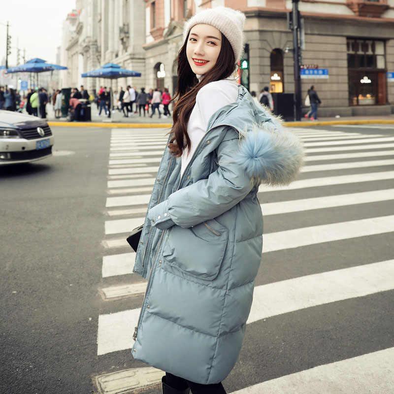 Парки женские зимние пуховики Длинные повседневные куртки с капюшоном из натурального меха женские плотные теплые зимние парки женские пальто 2019
