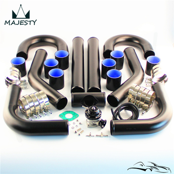 "2.36"" 60mm Universal Intercooler Pipe Piping Kit 8PCS + BOV Turbo Blow Off Valve Kit Black"