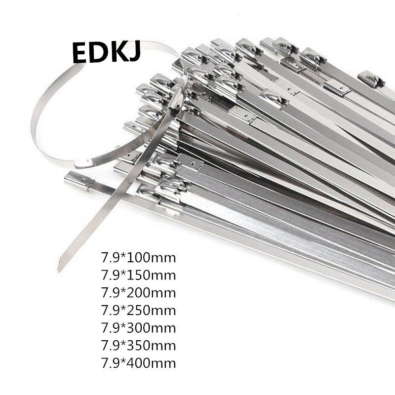 100pcs Stainless Steel Self Locking Cable Zipper Ties Wrap Coated 150//200//300mm