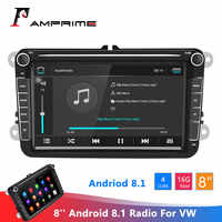 AMPrime Android 8.1 Car Radio 2 Din GPS Car Stereo Radio 8'' Car Multimedia player WiFi MP5 FM Radio Autoradio Stereo For VW