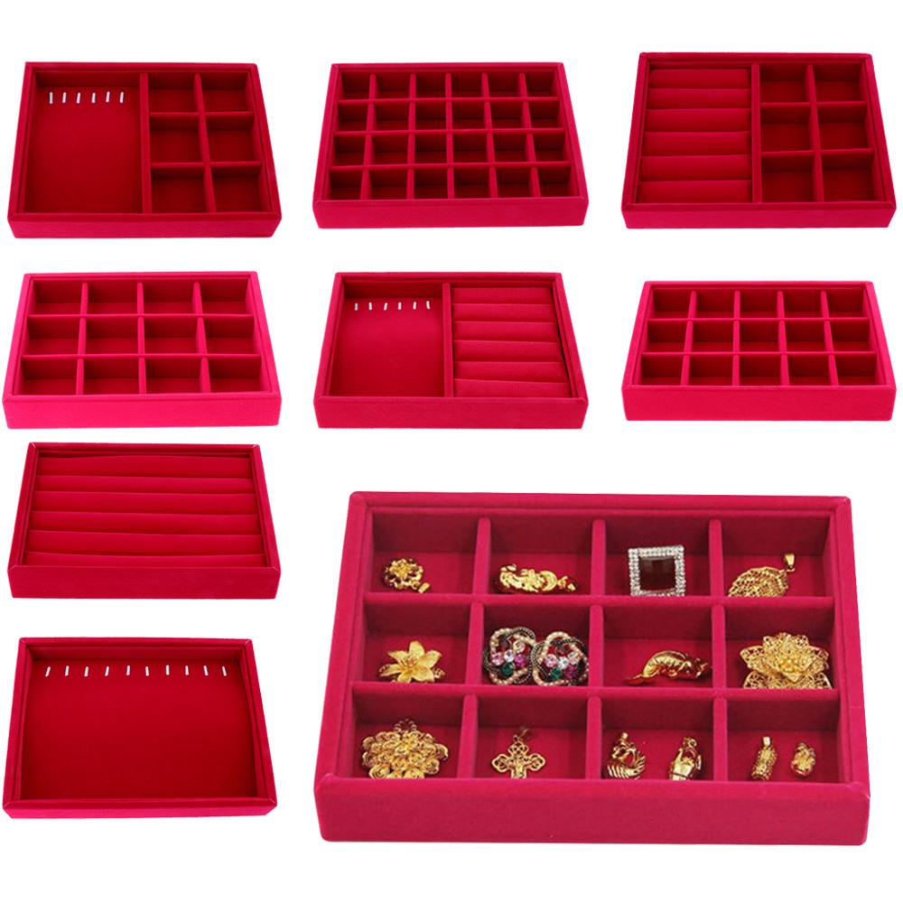 Portable Velvet Fashion Jewelry Ring Earring Insert Display Organizer Box Wooden Flat Stackable Tray Drawer Display Show Case