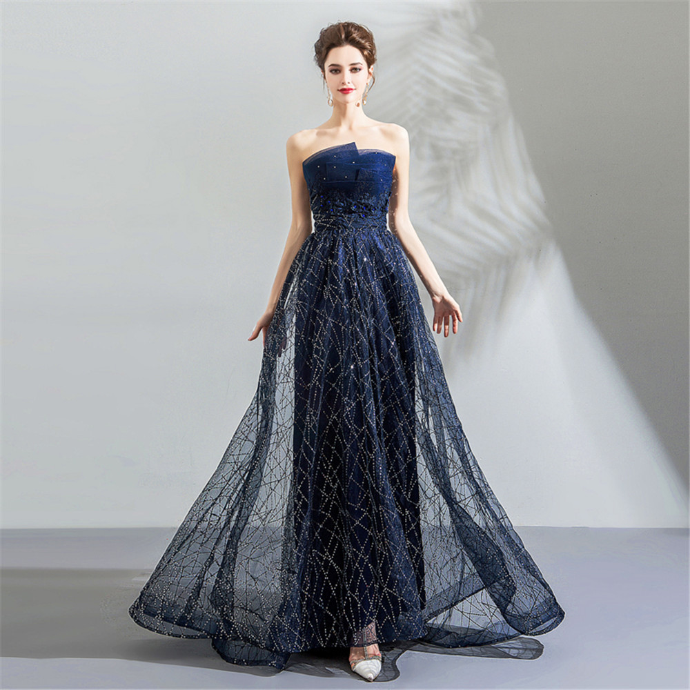 Star   Dress   Gown Sequins Sexy Tube Top Women Luxury Crytals Strapless   Prom     Dresses   Beading Long Bling Bling Blue Perlen Kleid