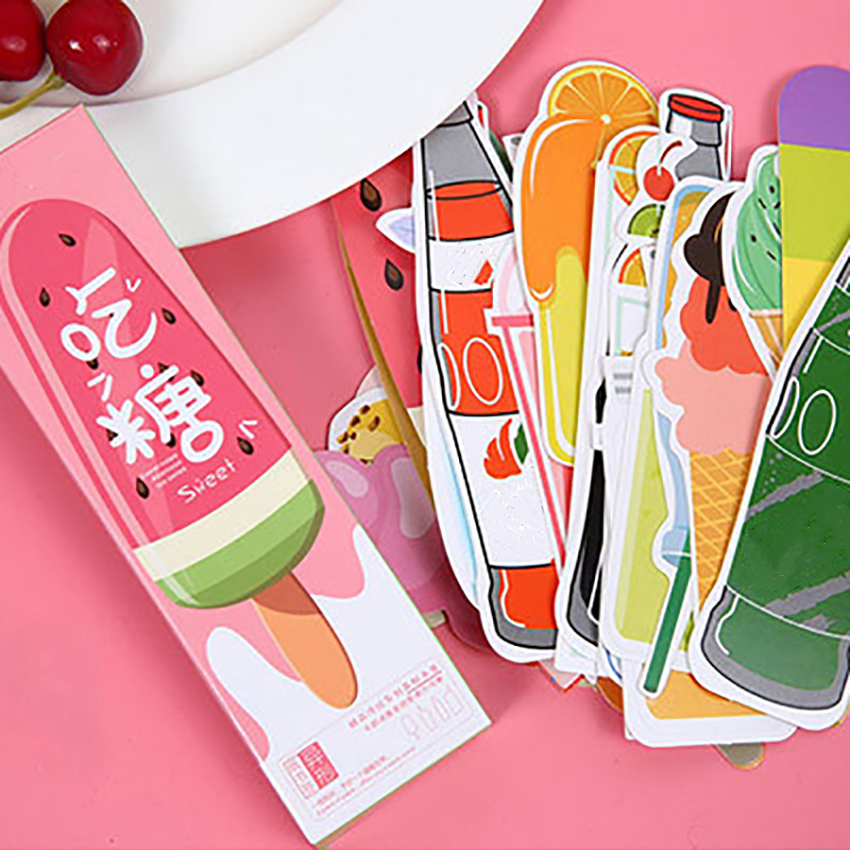 30PCS/Set Irregular Bookmark Soda Ice Cream Drinks Shape Paper Bookmarks Cute Book Page Holder Message Card Great Gifts