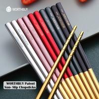 WORTHBUY 5 pares de palillos antideslizantes dorados, palillos chinos de acero inoxidable 18/8 para Sushi Hashi, juego de palillo reutilizable para alimentos