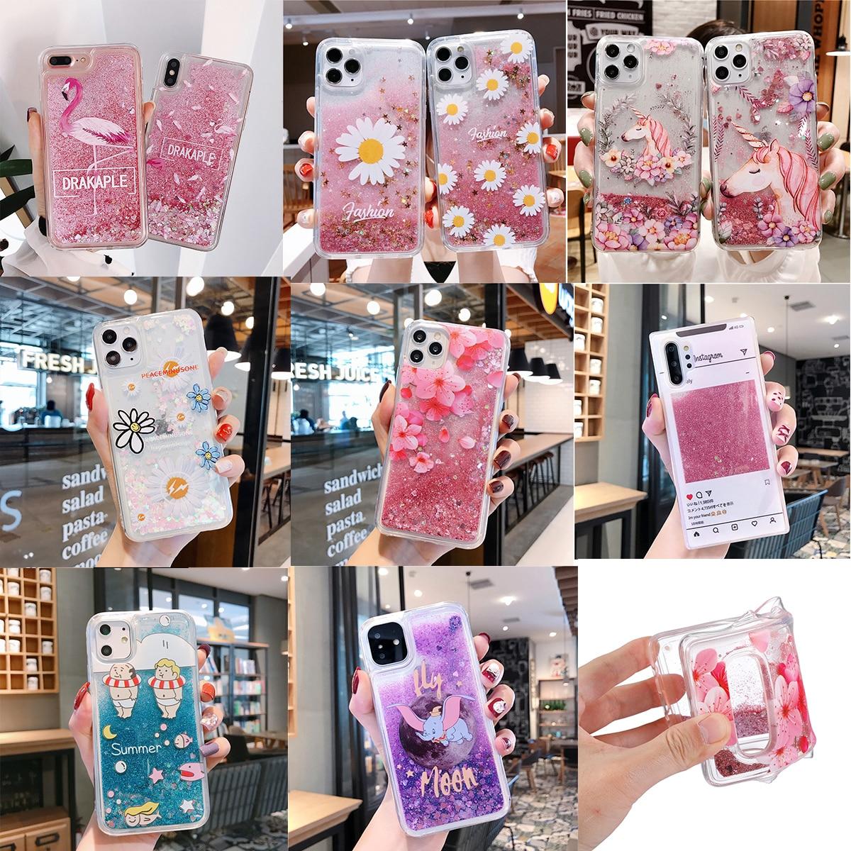 Блестящий Жидкий чехол для телефона Xiaomi Redmi NOTE 4, 4X, 5, 5A Prime, 6, 7, 8 Pro, 8T, Y1 Lite, S2, мягкий чехол с цветочным рисунком, единорог, фламинго|Чехлы-накладки|   | АлиЭкспресс