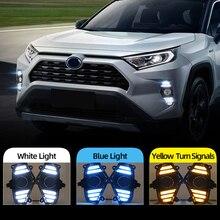 سيارة وامض 2 قطعة DRL لتويوتا RAV4 2019 2020 LED النهار تشغيل ضوء مقاوم للماء مع تدفق الأصفر بدوره إشارة الوفير