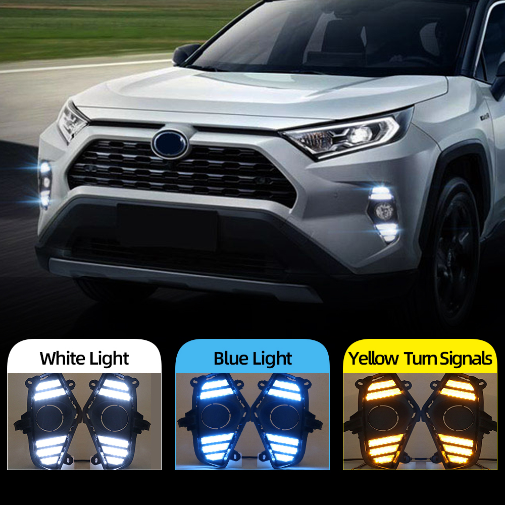 Car Flashing 2Pcs DRL For Toyota RAV4 2019 2020 LED Daytime  Running Light Waterproof with flow Yellow Turn Signal BumperCar Light  Assembly