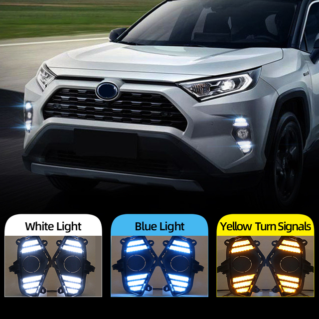 Car Flashing 2Pcs DRL For Toyota RAV4 2019 2020 LED Daytime Running Light Waterproof with flow Yellow Turn Signal Bumper