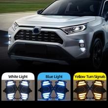 Xe Ô Tô Nhấp Nháy 2 Chiếc DRL Bi Gầm Lồi Cho Xe Toyota RAV4 2019 2020 Đèn LED Chạy Ban Ngày Ánh Sáng Chống Nước Với Lưu Lượng Vàng Nhan ốp Lưng