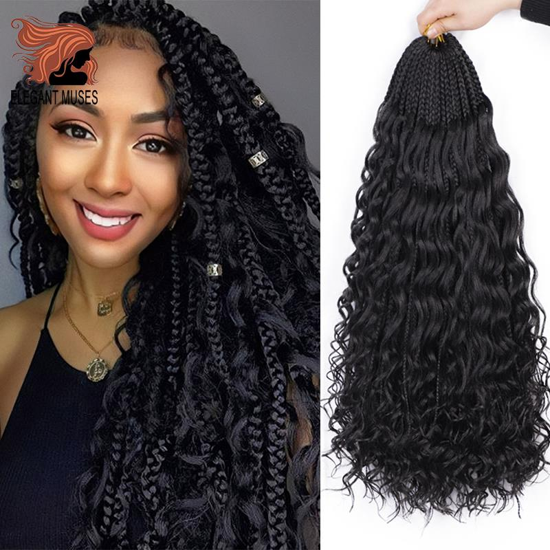 Messy Goddess Box Braids With Curly Hair Synthetic Crochet Hair Bohemian Hair With Curls 24inch Boho Braided Hair Extension