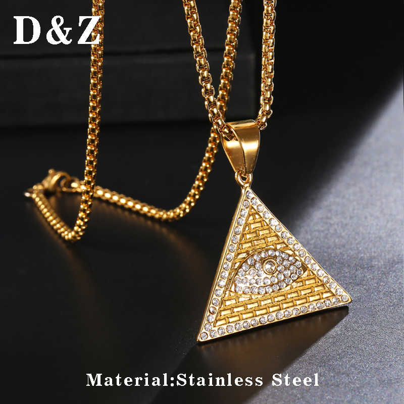 D & Z Bling Iced Out Triangle ojo de los Illuminati COLLAR COLGANTE para hombres geométrico Acero inoxidable piramidal Collier