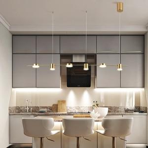 Image 5 - זהב או שחור נורדי פשוט תליון אורות חדר אוכל LED תאורת תליית גופי עבור בר שינה בית ארוך תליון מנורה