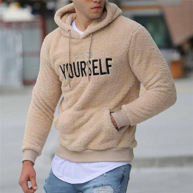 Warm Plush Fleece Hoodie Casual Long SleeveHooded Pullover - Kangaroo Pocket 3