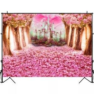 Image 4 - Laeacco düğün Photophone doğum günü yenidoğan arka Wonderland orman pembe çiçekler ağacı kale prenses fotoğraf Backdrop