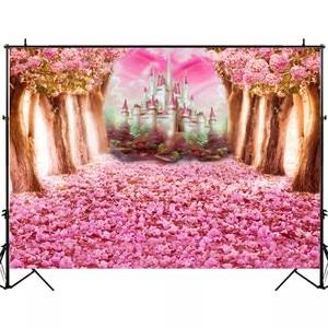 Image 3 - Laeaccoベビーシャワーphotocallピンクの花咲く木城写真撮影の背景新生児背景誕生日photophone