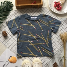 Tonytaobaby Summer New Boys and Girls Lovely Blue Cotton Short Sleeve Pencil T-shirt