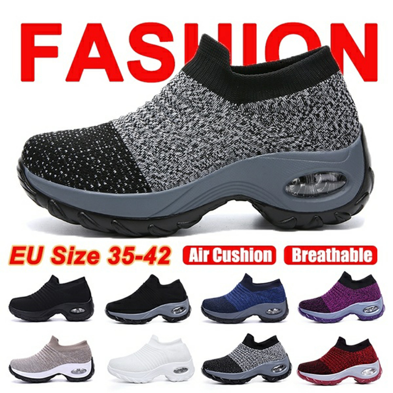 Women Girls Mesh Knit Sneakers Breathable Lace Up Thick Bottom Sport Shoes Comfy Non Slip Air Cushion Walking Athletic Shoes
