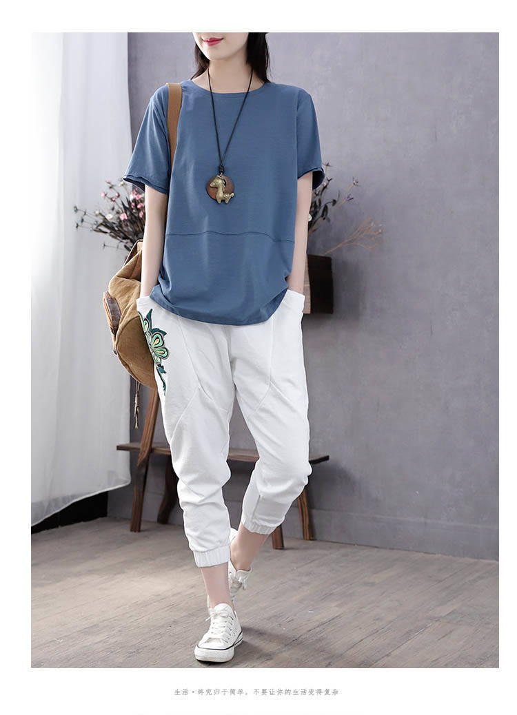 H7c804d1ae86b4f59924fa883a3291a546 - PEONFLY Fashion Spring Summer Women T Shirts O Neck Loose Long Sleeve Tee Embroidery Retro Harajuku Shirts Female Tops