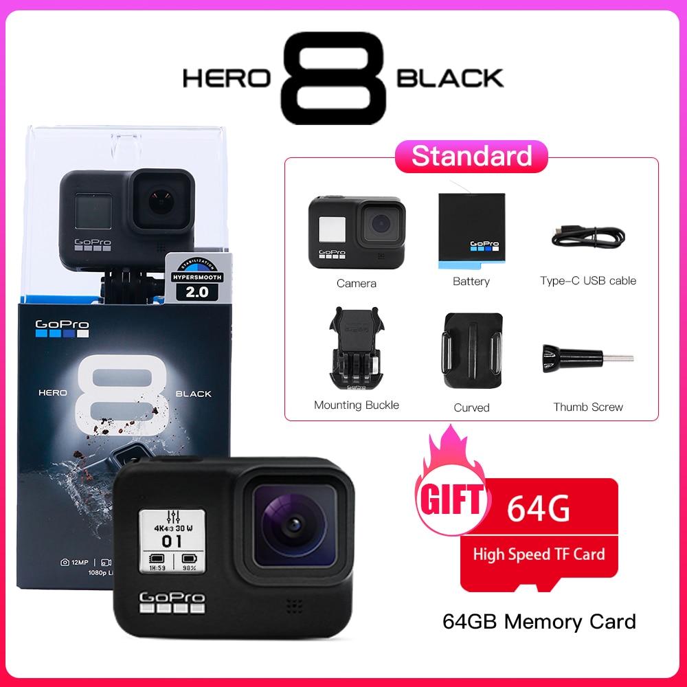 Оригинальная Экшн-Камера GoPro HERO 8 Black, водонепроницаемая Спортивная Экшн-камера Go Pro 4K Ultra HD видео 1080p, портативная прямая трансляция