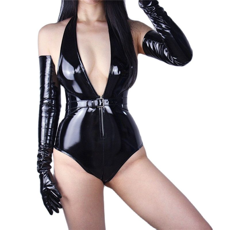 Patent Leather Extra Long Gloves 70cm Long Emulation Leather PU Bright Leather Bright Black Female Free Shipping WPU04