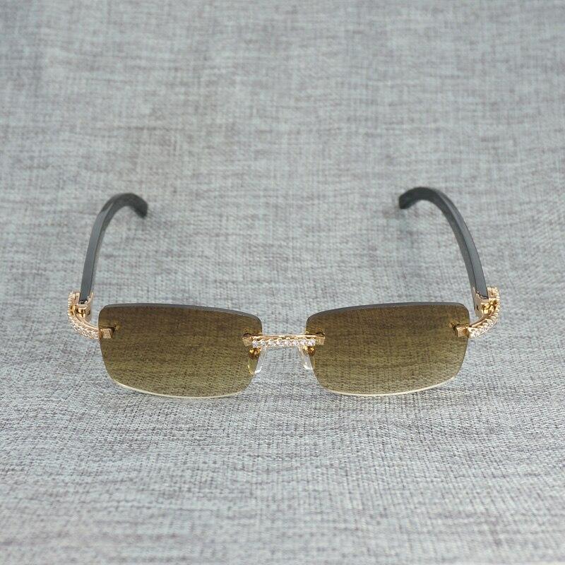 Горный хрусталь черный, Белый Цвет рога буйвола оправы солнцезащитных очков Для мужчин натурального дерева солнцезащитные очки ретро Отте... - 5