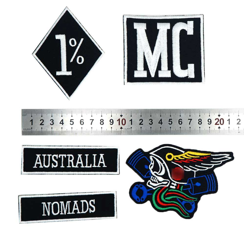 Australia nomads <font><b>mc</b></font> <font><b>1</b></font>% Embroidered Applique Sewing Label punk biker <font><b>Patches</b></font> Clothes Stickers Apparel Accessories Badge image