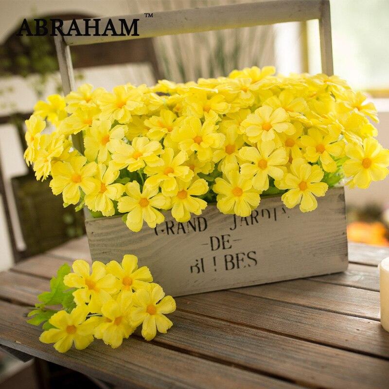 33cm 15 głów fałszywy Daisy kwiaty sztuczne stokrotka kwiat bukiet żółty Gerbera jesienne dekoracje kwiatowy na dekoracja ślubna do domu