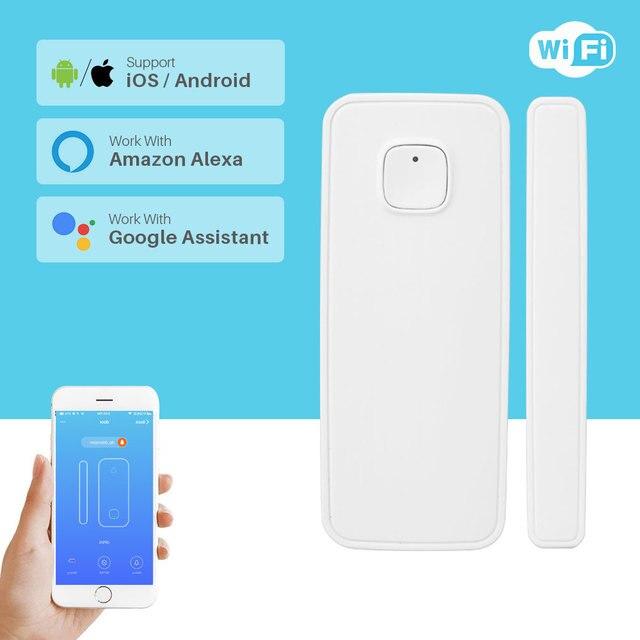 Không Dây Báo Động Wifi Cửa Sổ Cửa Cảm Biến Dò Nhà Thông Minh An Ninh Thông Qua Ứng Dụng Điều Khiển Tương Thích Amazon Alexa Google Home