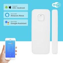 Wireless Door Alarm WiFi Window Door Sensor Detector Smart Home Security Via App Control Compatible Amazon Alexa Google Home