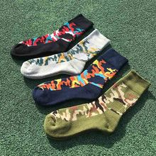 Cotton Men Funny Sport Football Crew Socks Fashion Autumn Winter Thickening Printed Terry Camouflage