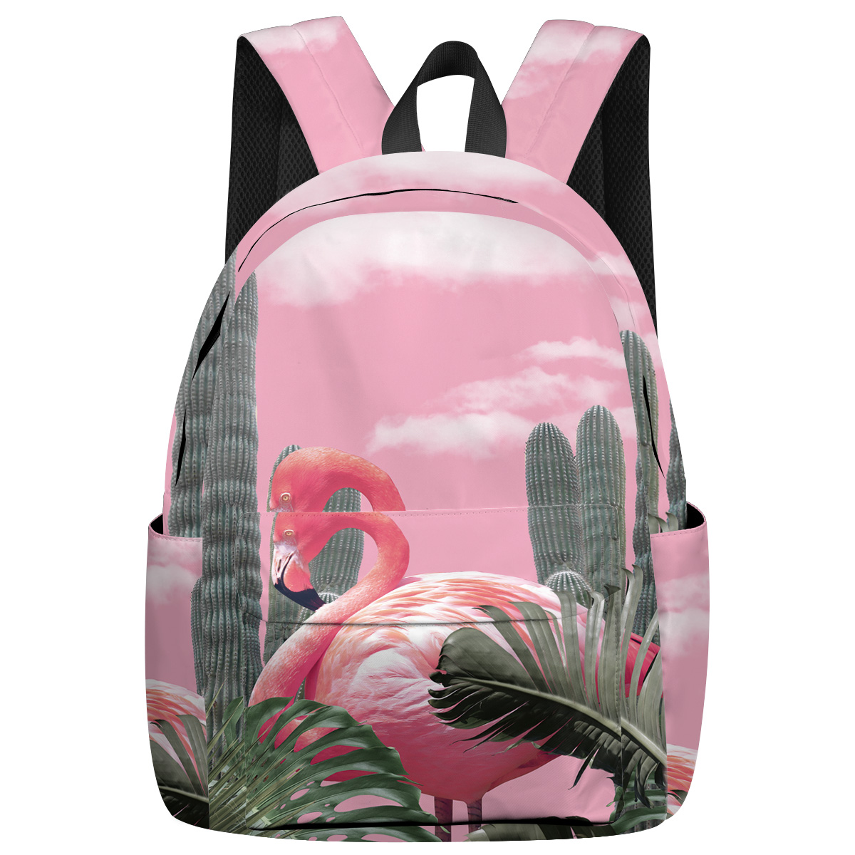 Flamingos And Tropical Plants Notebook Backpack Scratch Resistant Outdoor Backpack Forefather's Day Multi-Function Back