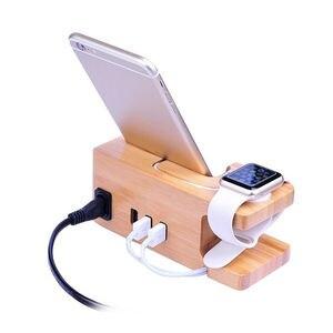 3-port usb carregador para apple watch & telefone organizador suporte, suporte de berço, 15 w 3a desktop de bambu estação de carregamento de madeira para iwatch