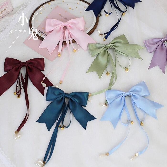 Black Bowknot Hair Pin Clip Bells Ribbon Headband Lolita Accessories For Women