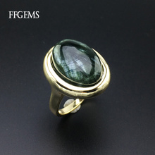 FFGems Natural Green Charoite Rings Sterling Real 925 Silver
