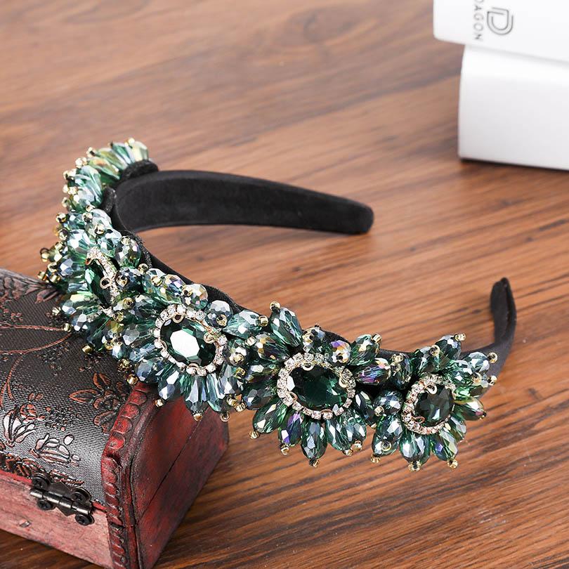 Haimeikang  New Limited Edition Baroque Crown Full Rhinestone Handmade Hair Bands Green Crystal Headband Wedding Hair Jewelry