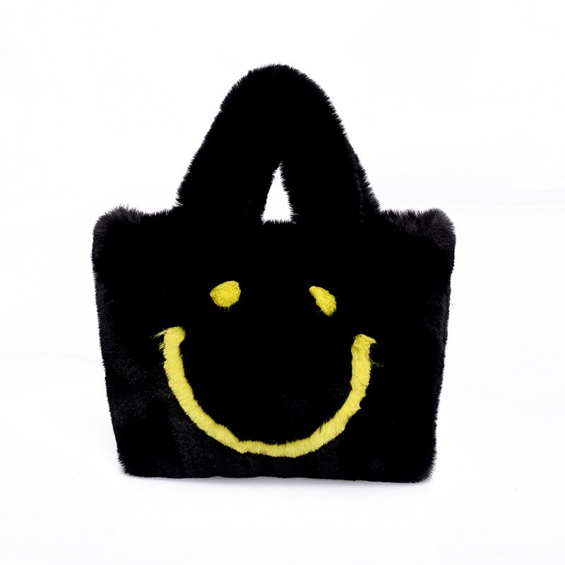 Fashion Women Winter Bag Plush Smiley Face Handbags Shoulder Bags Covered Buttons Cute Soft Ladies Chain Crossbody Bags Tote