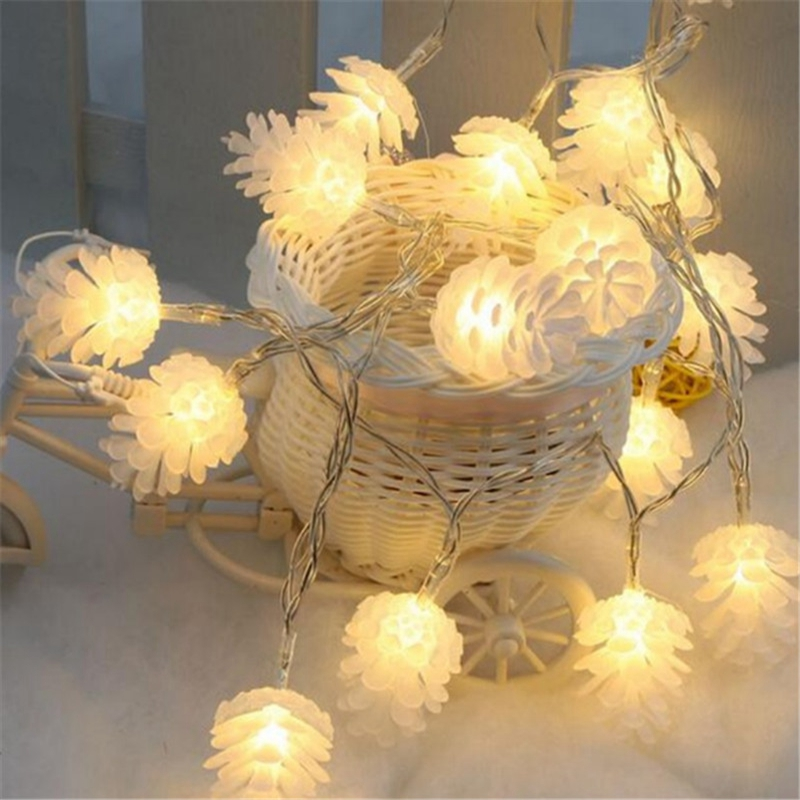 Christmas Pine Cones LED String Lights Battery Operated Fairy Lights Indoor Outdoor Decoration For Party Wedding Garden Home