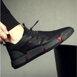 Nova marca de moda primavera outono preto masculino casual couro rendas até tênis formal oxford sapatos UU-101