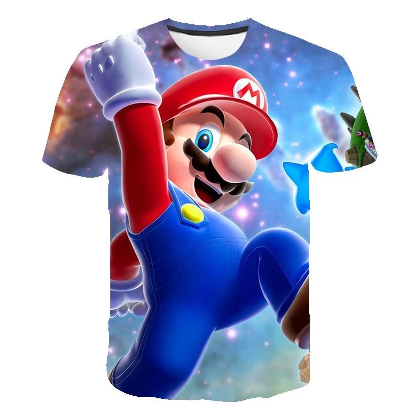 Classic Kids Clothes 3D Mario T-shirt New Harajuku Style Classic Game Mario Bros Print Boys Clothes Mario Fashion Street T-shirt