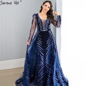 Image 5 - דובאי יין אדום קטיפה צווארון V ערב שמלות עיצוב יוקרה ואגלי לבוש הרשמי 2020 Serene היל בתוספת גודל LA60903