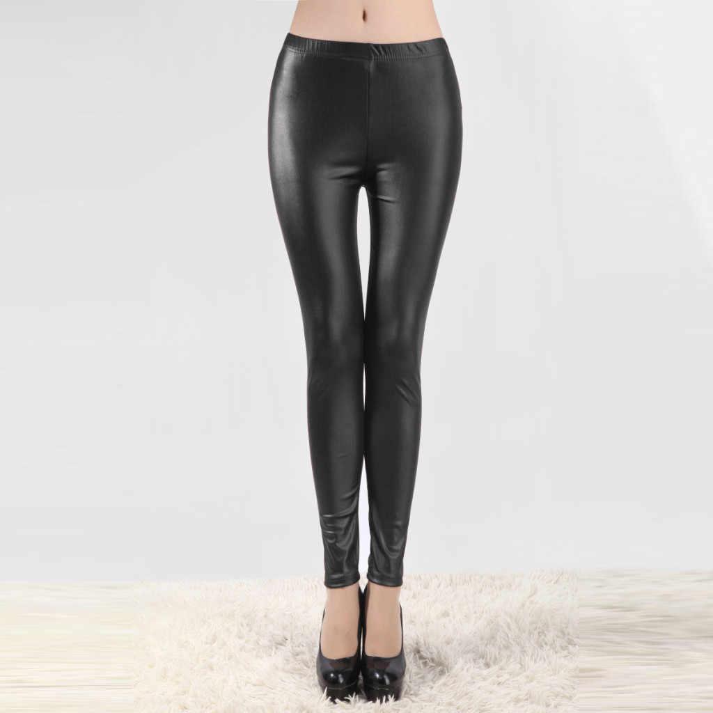 Tayt spor kadın spor kadın artı boyutu katı günlük pantolon seksi deri yüksek bel karın kontrol tayt pantolon #30