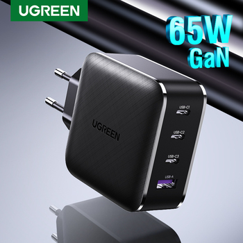 Ugreen 65W GaN Charger 4 Port Quick Charge 4.0 3.0 Type C PD USB Charger QC 4.0 3.0 Wall Fast Charger for iPhone Xiaomi Laptop
