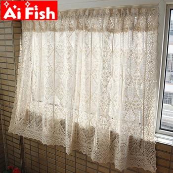 American Country algodón Lino crochet cocina media cortina Retro pequeña cortina ahuecada cortinas cortas para la ventana de la Bahía MY431 #30